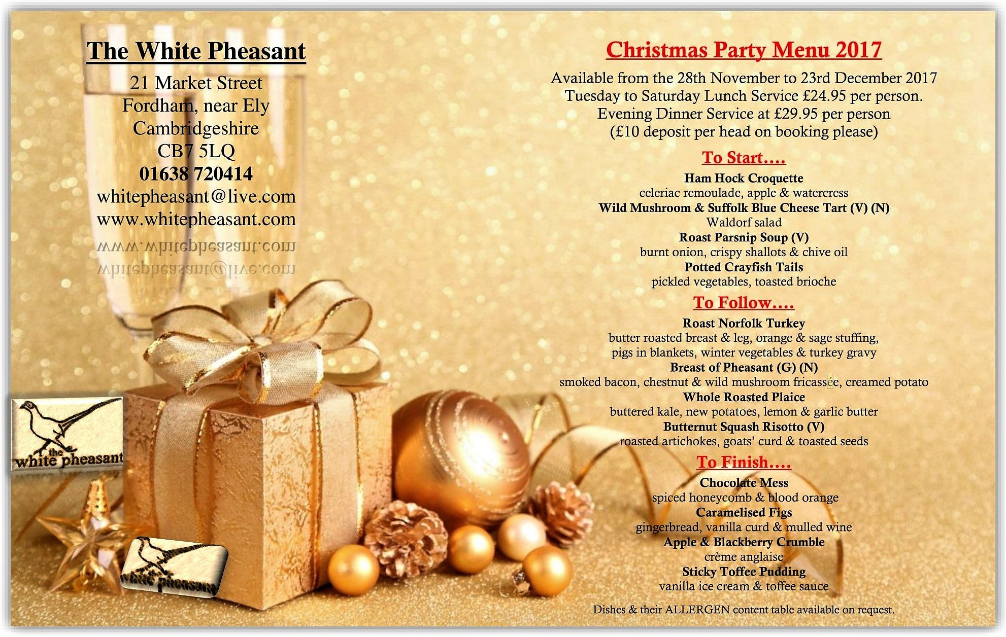 Christmas Parties at The White Pheasant