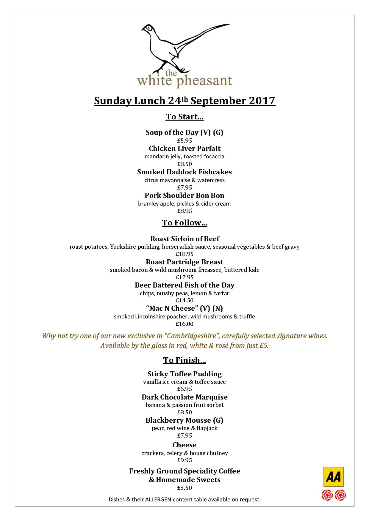 Autumn Sunday Lunches at The White Pheasant